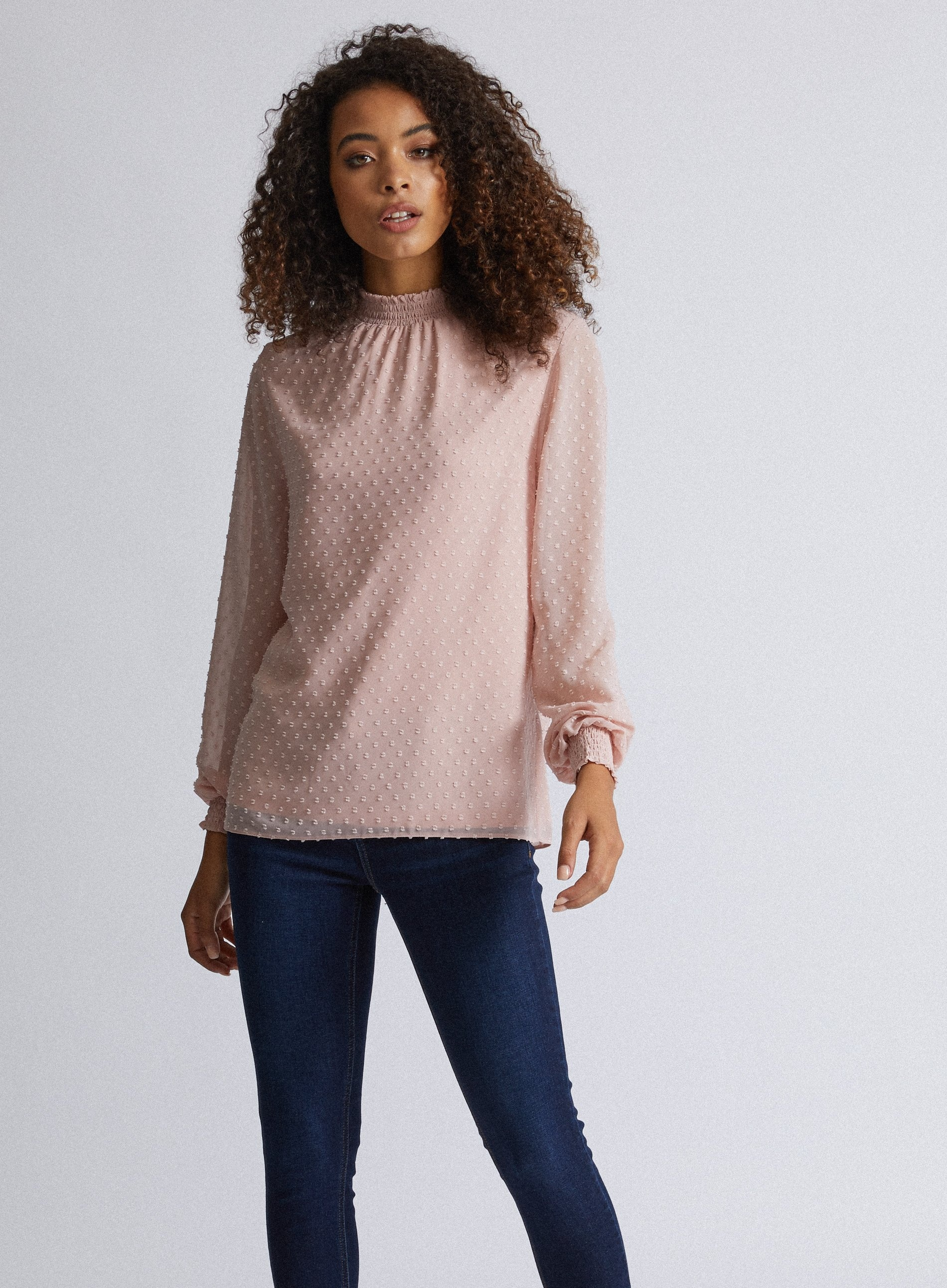 Dorothy Perkins Womens Pink Plain Shirred Neck Top Blouse