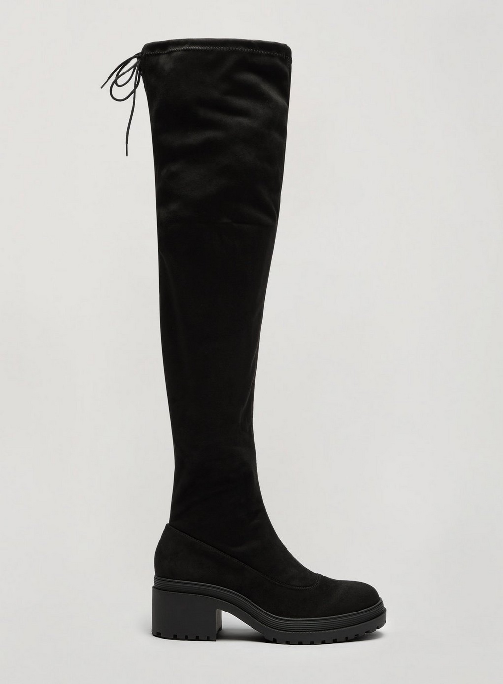 Miss Selfridge Womens Black Otto Over The Knee Boots Chunky Low Block Heel Shoes